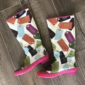 Coach Pammie Hang Tag Print Rain Boots Size 5